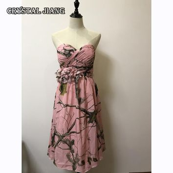 Pink Camo Bridesmaid Dresses 2017 Short Chiffon Floral Party Dress Camo Formal Gown Customized