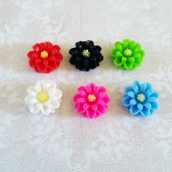 Small Flower Magnets or Thumbtacks PushPins for Refrigerators, Fridge, Magnet Board, Cork Board, Cubicle Decor, Dorm Decor 1/2 (14mm)