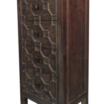 Silvestro Small Cabinet 4 Drawers, Antique Brown