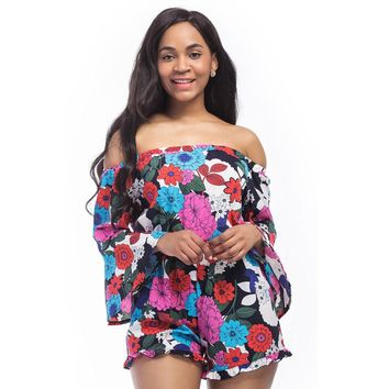 Sexy Jumpsuits Women 2018 Slash Neck Flare Sleeve Bodysuit Feminino Elastic Waist Floral Printed Romper Plus Size Playsuit X6002