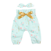 Mint Floral High Waisted Baby Pants | Baby and Toddler Girls High Waisted Pants