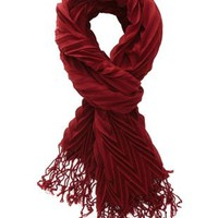 Ruby Wine Chevron-Textured Fringe Scarf by Charlotte Russe