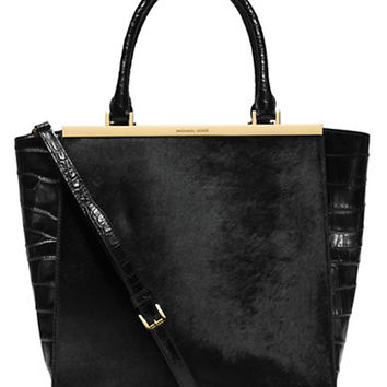 Michael Michael Kors Lana Leather and Hair Calf Large Tote
