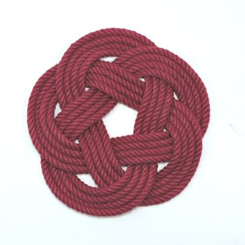 Sailor Knot Coasters, woven in Burgundy , Set of 4
