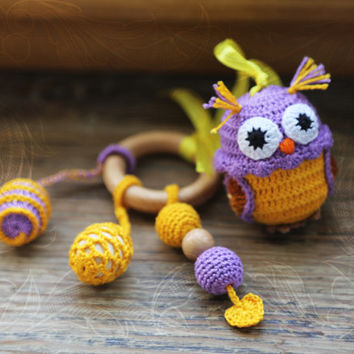 Crochet Baby Toy - Baby Teething Waldorf Toy - Crochet Sensory Owl Toy - with juniper beads