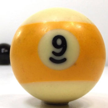 vintage 70s pool ball number 9 nine yellow stripe resin billiard collectible object decorative home decor altered art game room men modern