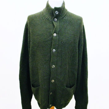 Vintage 90s Brooks Brothers Hobbit Funnel Neck Plain Green Jumper Sweater Large