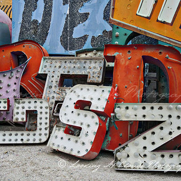 old Vegas signage, urban decay art photo, lights and letters, pop art, primary colors, architectural, industrial