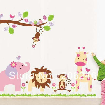 Cute 9052 World of Animal Wall Stickers African Jungle Elephant Monkey Lion Murals Tree Parlor Kids Bedroom Home Decor SM6