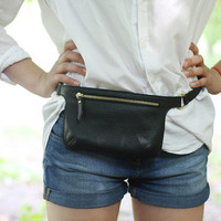 POLA - Black Leather Waist Bag | Hip Bag | Fanny Pack | Belt Bag