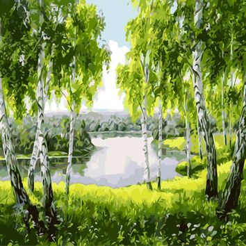 Green woods canvas paintings with no frame home decoration oil painting by numbers scenery pictures wall art