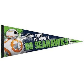 "SEATTLE SEAHAWKS STAR WARS BB-8 THIS IS HOW I GO SEAHAWKS PENNANT 12""x30"" NEW"
