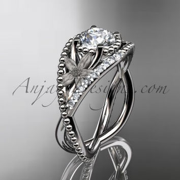 Platinum diamond floral wedding ring, engagement ring ADLR88