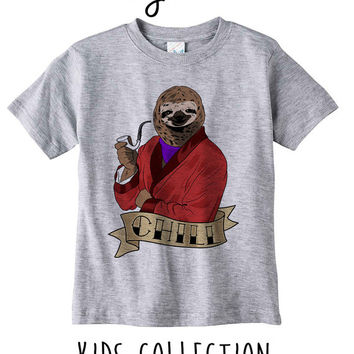 Chill Sloth Heather Grey / White Toddler Kids T Shirt Clothes Gift
