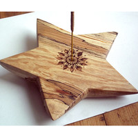 Carved Star Incense holder, spalted beech. Incense burner,ash catcher, hippie, woodland art, altar incense, pagan, wicca, UK