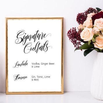 Signature cocktails sign, Wedding signature drinks sign, Wedding bar sign, Wedding bar menu, Wedding drink menu, Personalized printable sign