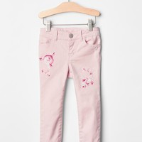 Gap 1969 Serious Stretch Rose Embroidered Skinny Jeans.