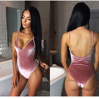 Kaywide Velvet Deep V Neck Backless Bodysuit Women Bodycon Rompers Jumpsuit Girls Strap Sexy Plus Size Bodysuits Wine Red A16806