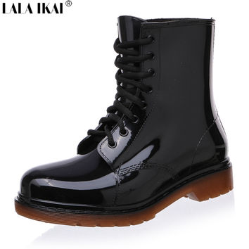 New Fashion Vintage Women Martin Rain Boots Lace-Up Low Heel Wedges Female Rubber Boots for Rainy Days Winter Shoes XWN0139-5