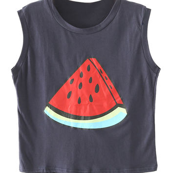 Dark Blue Watermelon Print Crop Top