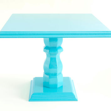 "Baby Shower Centerpieces, Aqua Blue Cupcake Stand, Wedding Cake Base, Wedding Centerpieces, 10"" Square - Aqua Blue"