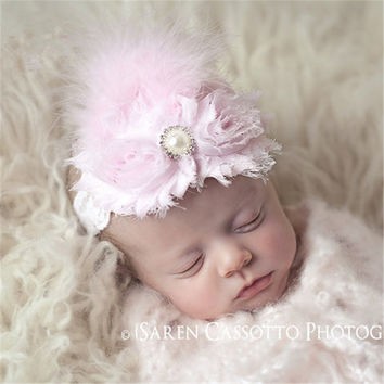 Ostrich Feather Headband Baby Girls Hair Accessories Fashion Flower Head Band Children Infant Kids Headwear