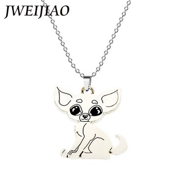 JWEIJIAO Cute Chihuahua Dog Pendant Necklace Alloy Metal Animal Dog Pendant Necklace For Men Women Love Animal Jewelry CHH1