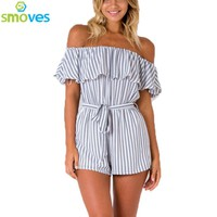 Sexy Striped Print Ruffles Bow Tie Off Shoulder Playsuit Strapless Women Casual Summer Romper Jumpsuit Overalls New