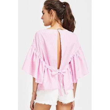 Self Tie Open Back Kimono Sleeve Striped Pink Top