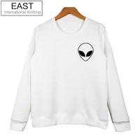 EAST KNITTING H1052 2017 Autumn New  Alien Print Pullover Fashion Casual Kpop Hoodie Full Sleeve Lady Tracksuit