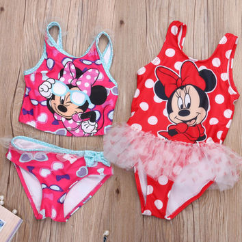 Hot Baby Girls Kids Bikini Cartoon Mouse beach Dress for kid girls 2-6years
