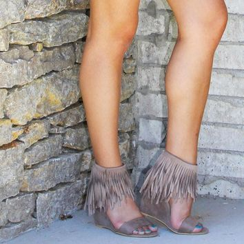 Fringe Trim Wedge Sandals