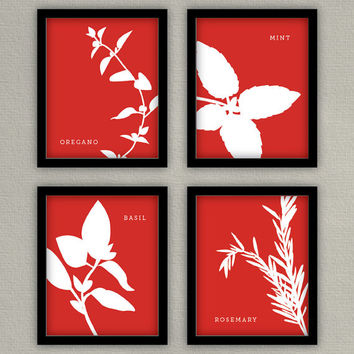 Kitchen Wall Art - Herb Prints - Set of 4 - 8x10s - Basil, Parsley, Dill, Rosemary, Cilantro, Mint, Oregano