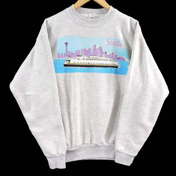 Vintage 90s Seattle Crewneck Sweatshirt - Medium Mens - Large Womens - Oneita - Gray Sweater - Grey - Vintage Clothing - 90s Clothing -