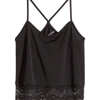 H&M - Short Lace Tank Top - Black - Ladies