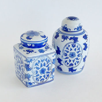 Chinoiserie Porcelain Apothecary Jars Blue White