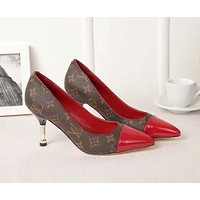 LV Louis Vuitton Trending Women Stylish Princess Luxury Designer Pointed High Heels-Heeled Shoes Sandals Red/Coffee I-OMDP-GD