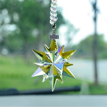 2017 Crystal Car Pendant Snowflake Car Mirror Ornaments Lucky Star Accessories Colorful Auto Styling Decoration Christama gift