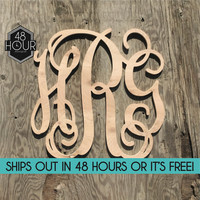 Sale Item Large 24 inch Wooden Monogram Letters Vine Room Decor Nursery Decor Wooden Monogram Wall Art Large Wood monogram wall hanging wood