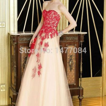 2015 New Strapless Floor Length Lace Bodice Tulle Gown Evening Dress Formal Dress