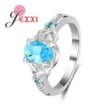 JEXXI Elegant Light Sky Blue Woman Finger Rings New Arrival Bridal Jewelry For Wedding Engagement Party Fashion 925 Silver Ring