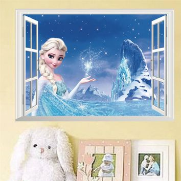 Princess Elsa Snow Queen Anna 3D False Window Wall Sticker For Kids Girl Room Snow Mountain Baby Bedroom Background Decor Decals