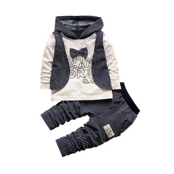 2pcs baby boys clothes cotton hoodied top&pants baby boys Outfits gentleman spring 2t toddler Sets tuxedo birthday Clothing