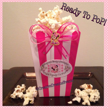 Ready to Pop Minnie Mouse Baby Shower Favor Boxes