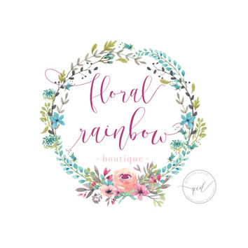 Floral Watercolor Logo - Wreath Logo Design - Boutique Logo - Premade Logo - Chic Logo