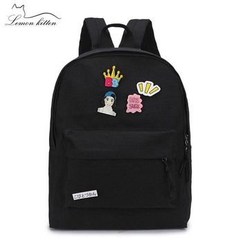 Student Backpack Children 2018 Canvas Solid Color Women Backpack Puppy Insignia Schoolbag Student Girl Leisure Backpack Female Mochila Bagpack Pack Design AT_49_3