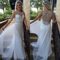 Sheath O neck White Chiffon Silver Sequins Lace Prom Dress Long Formal Dress APD1635