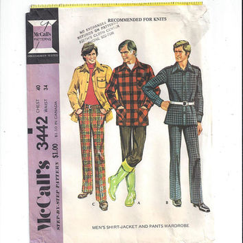McCall's 3442 Pattern for Men's Shirt Jacket & Pants Wardrobe, Size 40, Waist 34, From 1972, For Knits, Home Sewing Pattern, Vintage Pattern