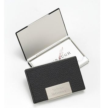 Personalized Black Leather Business Card Case Free Engraving