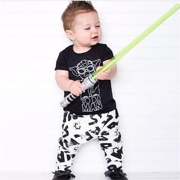 2017 Summer Baby Boy Clothing Sets Baby Boy Clothes Cotton little Monsters Short Sleeve T-shirt+Pants Infant Clothes 2PCS Suit